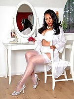 Danica ready for bed in white lingerie, stockings and suspenders - Granny Girdles