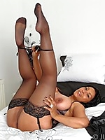 Danica fucks herself to orgasm in her stockings and sexy lingerie - Granny Girdles