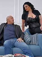 Chubby big breasted housewife fucking on the couch